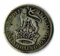 Moneda Gran Bretaña 1933 one shilling George V British plata .500 silver coin
