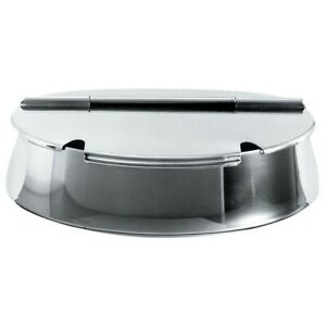 "Alessi ""50"" Polished Stainless Steel Oval Sugar Bowl with Hinged Lid"