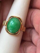 VIntage 22k Yellow Gold Jade Ring Handmade Halo Setting 12mmX10mm Quality