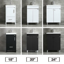 "18""/20""/24"" Bathroom Vanity Cabinet Wood Set Single Undermount Resin Black/White"