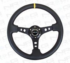 "NRG Steering Wheel 06 BLACK Leather & Spoke w/ Yellow Stripe 350mm 3"" DEEP DISH"