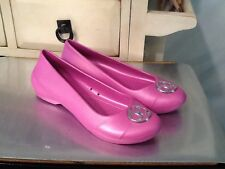 Crocs Womens Gianna Disc Flat Shoes Size 7 Wild Orchid/Silver