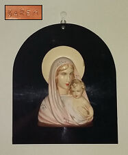 Madonna con Gesù Bambino in gesso SAREM . Da parete . Montato su piastra nera