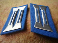 E EAST GERMAN UNIFORM GERMAN POLIZEI 2 X COLLAR TABS 6 X 4 CM BLUE