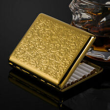 NEW gold plated embossed arabesques cigarette case holds 20 cigarettes