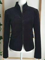 Vintage 90s Sportsgirl Black Velvet Goth Steampunk Puff Sleeve Jacket Size Small