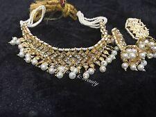 Indian/Pakistani  Hyderabadi Nazam Jewellery 6ct Gold Plated Choker & Jhumki Set