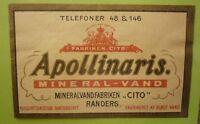 OLD SOFT DRINK CORDIAL LABEL, 1950s FABRIKEN CITO RANDERS DENMARK APOLLINARIS 1