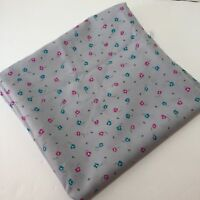 """2 Yards Grey with Flowers Silky Blouse Shirt Dress Fabric 60"""" Polyester"""