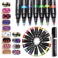 16 COLOR UV GEL POLISH MANICURE NAIL ART PEN PAINTING DRAWING DESIGN TOOL New