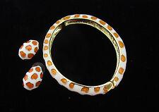 Kenneth Jay Lane Signed 2006 Gold Enamel GIRAFFE Bangle Bracelet & Earrings Set