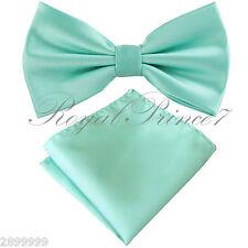Mint Aqua Green Men's Butterfly Style Pre-tied Bowtie & Pocket Square Hanky Set