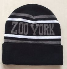 ZOO YORK CUFFED BEANIE HAT - TEAM CAP - BLACK/GREY/WHITE - ONE SIZE **NEW**