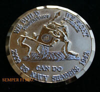 WE BUILD WE FIGHT SEABEES CHALLENGE COIN US NAVY VETERAN GIFT PIN UP USS 09 WOW