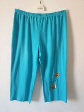 Quacker Factory Size XL blue loose fit cropped trousers sequin embroidery detail