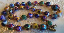 Art deco 30's VENETIAN Murano Millefiori Art Glass Bead  Necklace 16&1/4 inch