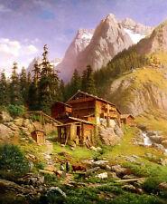 Oil painting Georg Engelhardt - An Alpine Mill House nice landscape & cows man