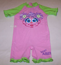 Sesame Street Abby Girls Pink Green 1 Piece Bathers Swimsuit Size 0 New