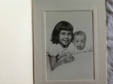 Big Sister and Little Brother Photograph in Cardboard Folder 1940's