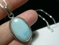 "Sterling Silver Aqua Natural Real Larimar Gem Stone Pendant & 18"" Chain NECKLACE"
