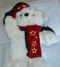 "2001 CHRISTMAS Snowflake TEDDY BEAR White Boy 22"" With Red Clothes Nice."