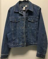 Liz Claiborne Jacket Denim Jean M Blue Button Front Button Cuffs Waist Tabs
