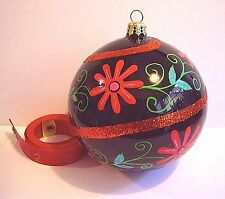 Christopher Radko Christmas Blossoms Ornament Black Ball Red Flowers 0103420