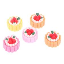 5pcs Dollhouse Miniature Food Cute Simulation Small Cream Cake DIY Accessor`