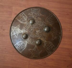 "Vintage Iron Mughal Ottoman Islamic Hand Engraved Shield Dhal decor 15"" inch"