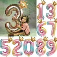 "32"" Crown Number Foil Balloons Digit Ballon Baby Birthday Party Wedding Decor"