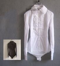 Lady Bodysuit Shirt Blouse Ruffle Button Down Long Sleeve Top Cotton White Black
