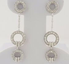 0.65 ct 14k White Gold Round Brilliant Cut Diamond Three Circle Dangle Earrings
