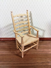 Dollhouse Miniature Unfinished Ladderback Arm Chair for Kitchen or Dining 1:12