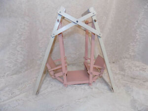 Vintage Wood Pink Double Doll Swing Antique German Betsy Ginny Muffie