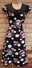 KLESSMAN BLACK SPOTTY FLORAL MESH CROCHET SKATER SUMMER  FLIPPY TEA DRESS S M