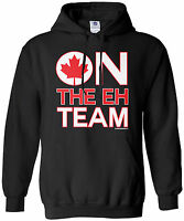 Threadrock Men's On The Eh Team Hoodie Sweatshirt Funny Canada Canadian Flag