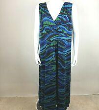 Slinky Brand Womens Sleeveless Midi Dress 2X V-neck Blue Green Geometric Print
