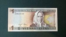Lithuania Paper Money 1 Litas 1994 Zemaite,  UNC Banknote