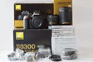 [Unused in Box] Nikon D3300 24.2 MP DSLR Double Zoom 2 Lens Kit from Japan N357