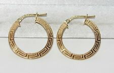 9CT YELLOW GOLD & SILVER GREEK KEY LADIES CREOLE HOOP EARRINGS ~