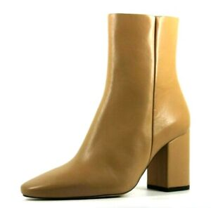 H&M Womens UK 2.5 EU 35 US 4.5 Beige Leather Zip Up Block Heeled Ankle Boots