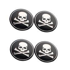 New 4 Pcs Car Pickup Wheel Hub Center Cover Cross Bone Skull Logo Decal Sticker
