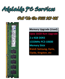 Adelaide PC Services RAM Upgrade from 8GB to 16Gb for desktop pc only