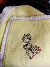 Vintage Fringed Baby Blanket Yellow Bambi 50-60s