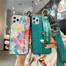 Women Plaid  Holder Lanyard Soft Phone Case Cover For iPhone11Pro XR 8Plus XsMax