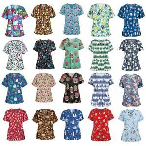 Printed Medical Scrubs V Neck/ Mock Wrap Top/ Uniform Nurse Choose Size & Print