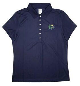 Callaway Opti-Dri Golf Polo Shirt Women's Medium Dark Blue Gecko Cactus Sun