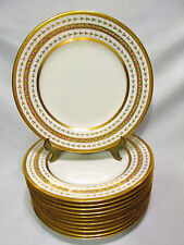 SPODE COPELAND 12 DINNER PLATES STERN BROTHER'S NEW YORK GOLD TRIM FLOWERS #3152