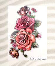 """US SELLER-tattoo wristband rose flower large 8.25"""" half-sleeve arm tattoo"""