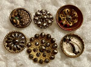 6 Small Vintage Cut Steel Buttons #4307